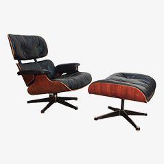 Schwarzer Polstersessel 670 aus Leder mit Ottomane 671 von Ray und Charles Eames für Herman Miller, 1960er