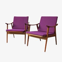 Armchairs by Fredrik Kayser for Vatne Laenestolfabrikk, 1950s, Set of 2