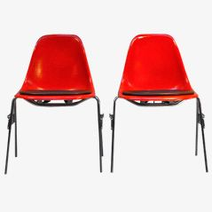 DSW Chairs by Charles & Ray Eames, Set of 2