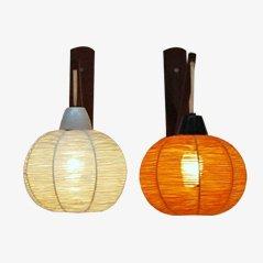 Kugelförmige Vintage Wandlampen, 2er Set