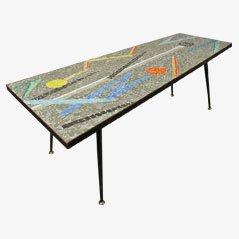 Mesa de centro asimétrica de mosaico, años 50