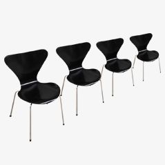 Series 7 Butterfly Chairs by Arne Jacobsen for Fritz Hansen, Set of 4