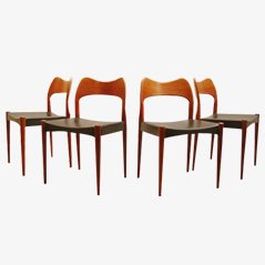 Teak Dining Chairs by Arne Hovmand Olsen for Mogens Kold Denmark, Set of 4