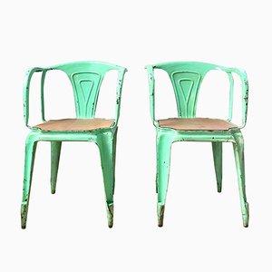 Vintage Stühle aus Eichenholz & Metall von Joseph Mathieu für Multipl's, 1930er, 2er Set