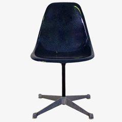 Blauer Glasfaser PSC Stuhl von Eames für Herman Miller