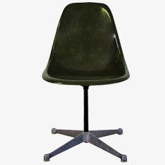Olivgrüner Glasfaser PSC Stuhl von Eames für Herman Miller