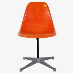 Oranger Glasfaser PSC Stuhl von Eames für Herman Miller