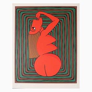 Affiche Ralf Artz, Femme Rouge, Lithographie, Fond Vert et Marron