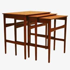 Tavolini a incastro di Hans Wegner per Andreas Tuck, anni '60, set di 3