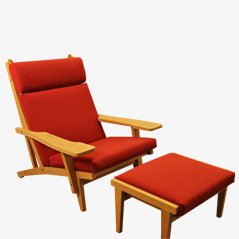 GE 375 Lounge Chair with Matching Ottoman by Hans J. Wegner for Getama, 1960s