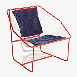 Fuchila Chair in Red & Blue by Marina Dragomirova