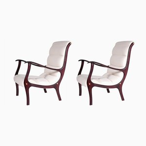 Italian Stained Wood Armchairs, 1950s, Set of 2