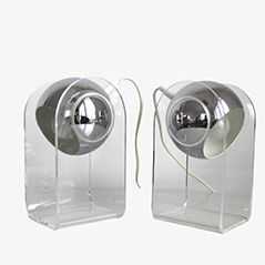 540 Chrome and Acrylic Table Lamps by Gino Sarfatti for Arteluce Milano, 1970s, Set of 2