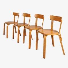 Mid Century Dining Chairs by Alvar Aalto for Artek, 1950s, Set of 4