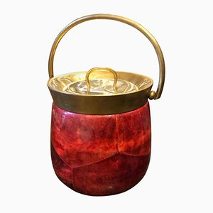 Mid-Century Modern Red Goatskin & Brass Ice Bucket by Aldo Tura, 1950s