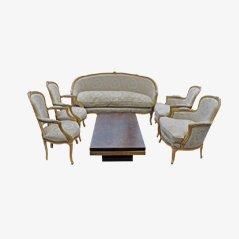 Fünfteiliges Antikes Französisches Lounge Set, 1900er