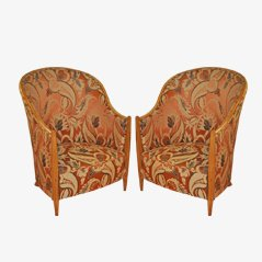 Art Nouveau Bergére Lounge Chairs, 1900s, Set of 2