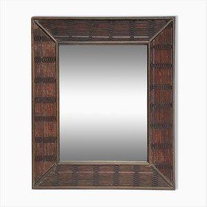 Bamboo Rattan Wicker Ripple Frame Mirror