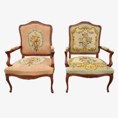 Antique Louis XV Armchairs, 19th Century, Set of 2
