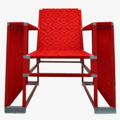 Red Woven Nylon Easy Chair, 1980s
