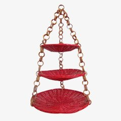 Vintage Red Wicker Hanging Basket, 1960s
