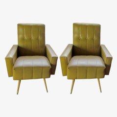 Vintage Mid-Century Italian Lounge Chairs, 1950s, Set of 2