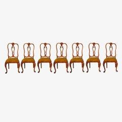 Walnuss Esszimmerstühle von Chippendale, 7er Set