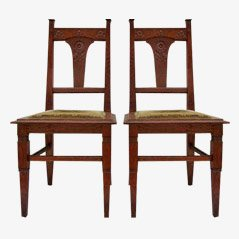 Jugendstil Carved Oak Dining Chairs, circa 1900, Set of 2