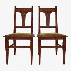 Jugendstil Esszimmerstühle aus geschnitzter Eiche, ca. 1900, 2er Set