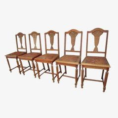 Belgian Art Deco Chairs, 1930s, Set of 5