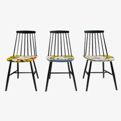 Hand Painted Pop Art Chairs from Pastoe, 1960s, Set of 3