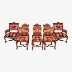 Antike Geschnitzte Esszimmerstühle aus Eiche, Belgien, 8er Set