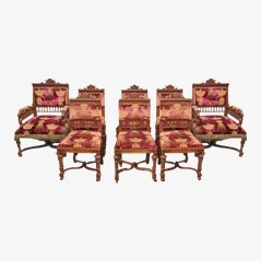 Antique Belgium Carved Oak Dining Chairs, Set of 8