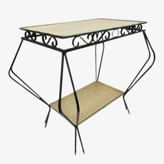 French Iron Table with Perforated Steel Layers, 1950s