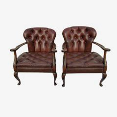 Queen-Anne Style Leather Chairs, 1940s, Set of 2