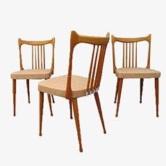 Chaises de Salon en Hêtre de Stevens, Pays-Bas, 1950s, Set de 3
