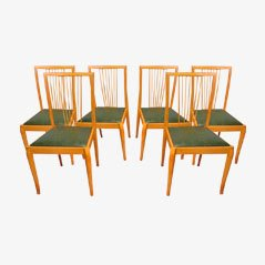 Mid-Century Scandinavian Beech Dining Chairs, 1960s, Set of 6