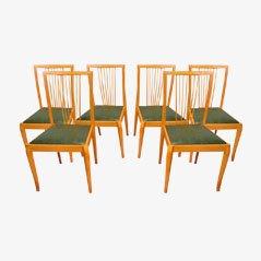 Skandinavische Mid-Century Buchenholz Esszimmerstühle, 1960er, 6er Set