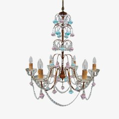 Italian Murano Glass & Crystal Chandelier