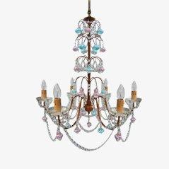 Lámpara de araña italiana de ceristal de Murano y cristal