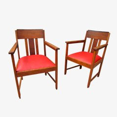 Art Deco Amsterdamse School Chairs, 1920s, Set of 2