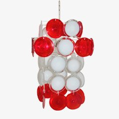 Red & White Chandelier from Vistosi, 1960