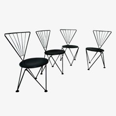 Black Metal Chairs by Josef Hoffmann for Bonaldo, 1980, Set of 4