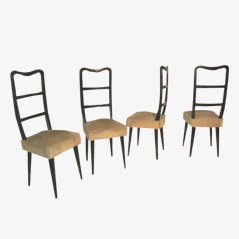 Italian Wood Dining Chairs, 1950s, Set of 4