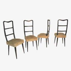 Italienische Esszimmerstühle aus Holz, 1950er, 4er Set