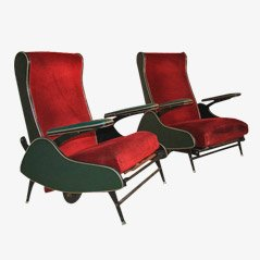 Italian Reclining Armchairs, Set of 2