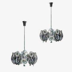 Lámparas de araña italianas vintage, años 70. Juego de 2