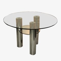 Vintage Italian Glass Dining Table, 1970s