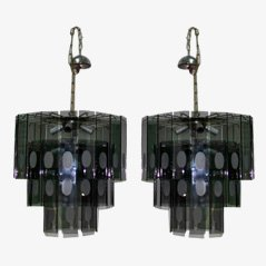 Vintage Italian Crystal Chandelier, 1970s, Set of 2