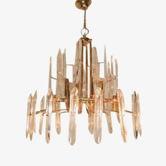 Italian Brass & Glass Chandelier, 1970s